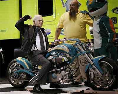 Warren Buffett on motorcycle